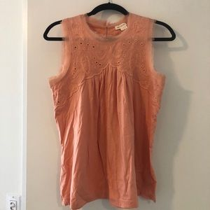 Peach Anthropologie embroidered top